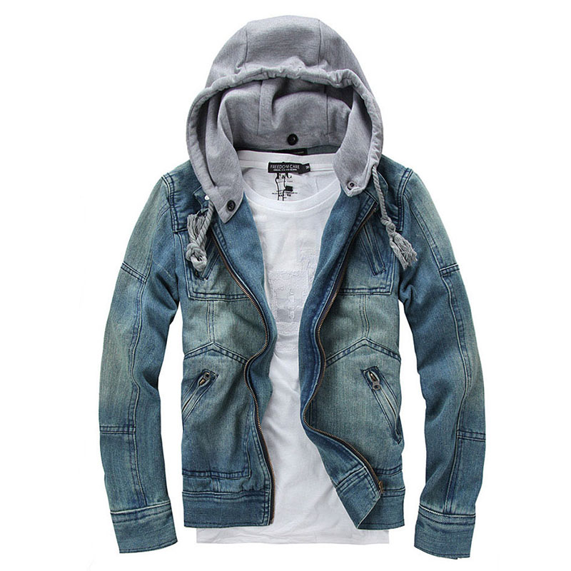 ג 'ינס ז' קט גברים hooded ז 'אן מעילים - בגדי גברים