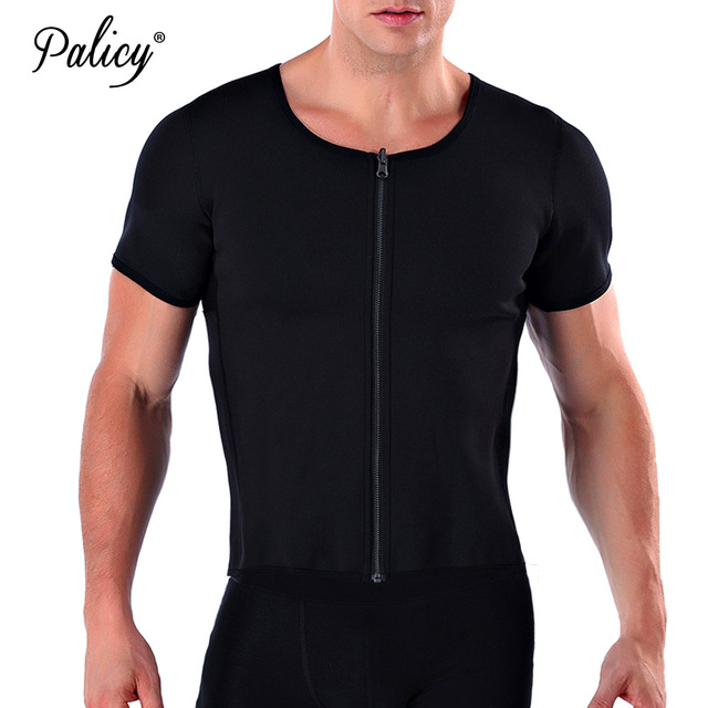 Palicy Men's Body Shapers S-3XL Neoprene Tshirt Tank Top Utral Sweat Sauna Shirt Waist Trainer Bodysuit with Zipper Sleeves