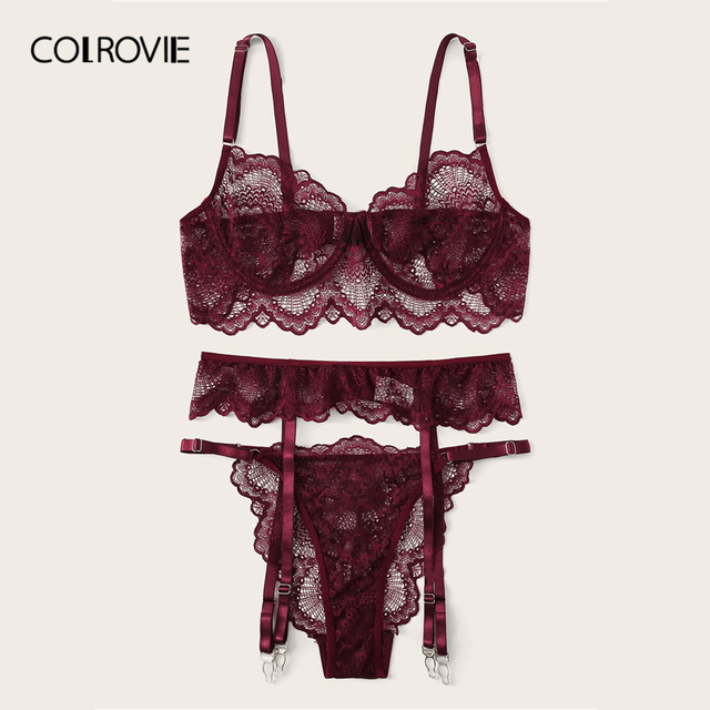COLROVIE Burgundy Floral Lace Garter Sexy Lingerie Set Women Intimates 2019 Underwire Transparent Bra And Thongs Underwear Set 5