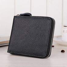 Large capacity short wallet mens leather 20 % card bag black zipper 9039