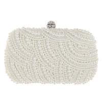 2015 Hot Fashion Handmade Beaded Pearl Evening Bag Clutch Crystal Purse Bag Party Wedding Bag Free