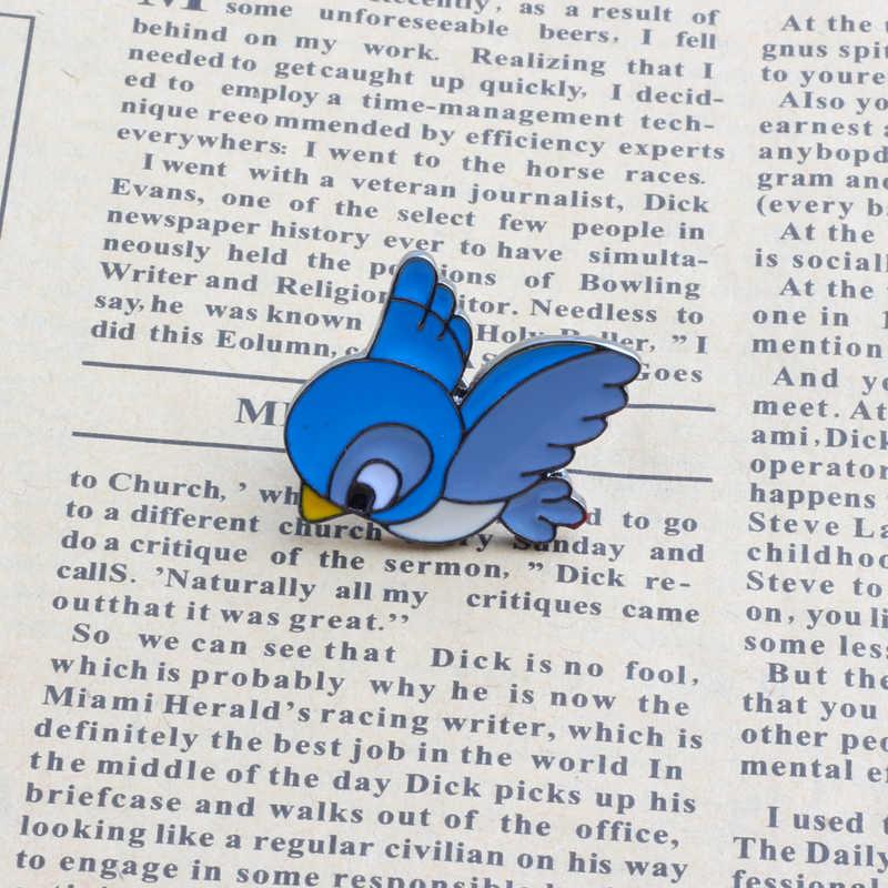 Kreatif Biru Burung Enamel Pin Hewan Bros Kartun Buah Cherry Pisang Tombol Pin Lencana Jaket untuk Wanita Anak Perhiasan Logam