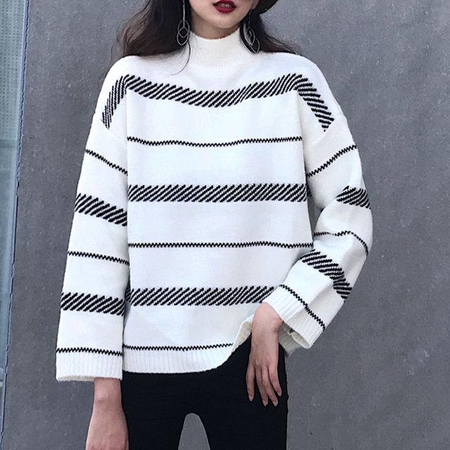 My own way Korean style 2019 fashionable rabbit velvet striped half-neck sweater ladies trend casual and generous elegant loose
