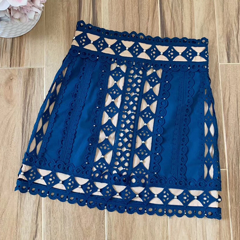 Red RoosaRosee 2019 Summer High end Runway Designer Skirt Women s High Street Fashion Sexy Embroidery