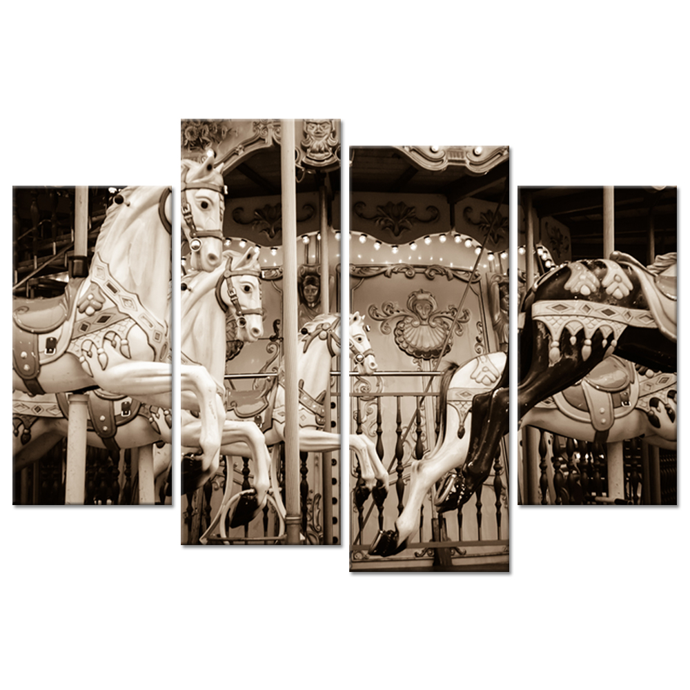 4 Panel Gallery Wrap Canvas Wall Art Old Carousel Horses Paris Sepia Retro Style Picture Print On Canvas For Home Decorations