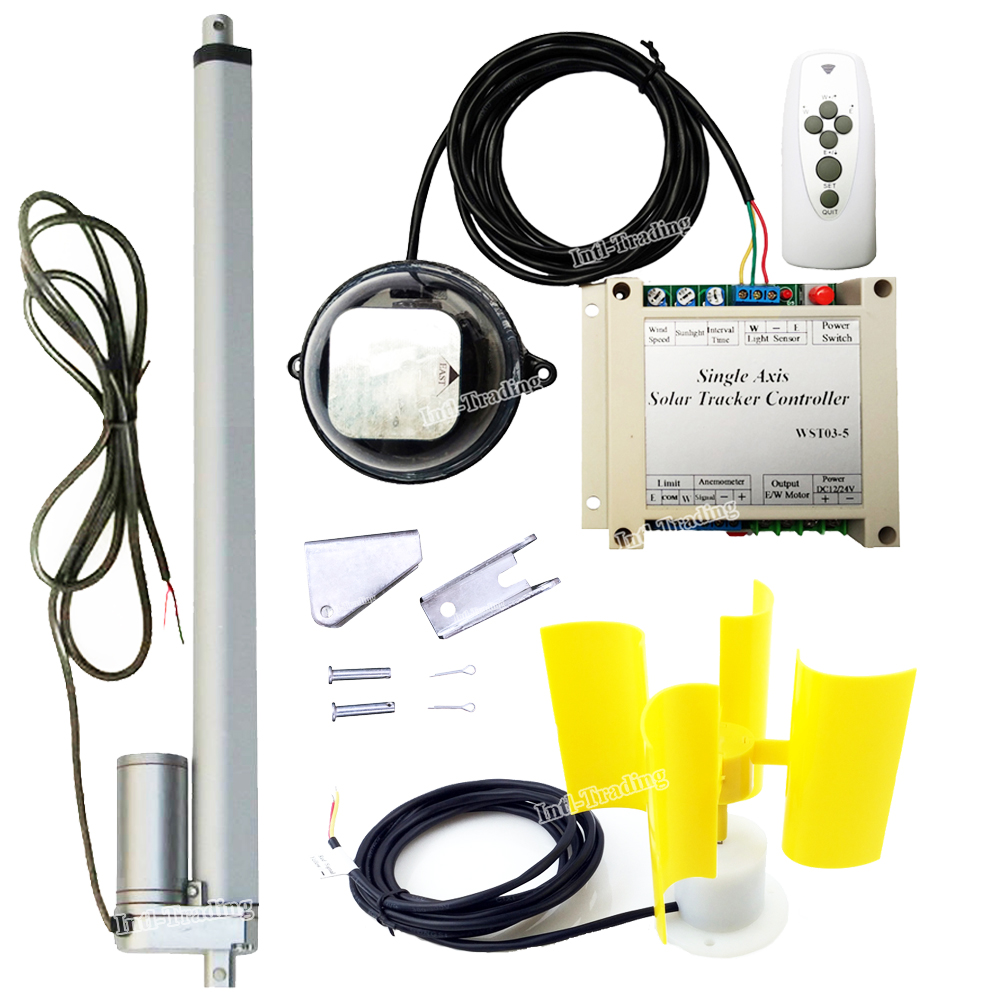 medium resolution of dc motor 12volt 18 linear actuator controller wind speed sensor for single axis solar tracking