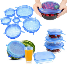 6Pcs/lot Silicone Stretch Lids Universal Food Taper Bowl Pot Lid Food Wrap Cover Sealed Silicone Cover for Kitchen Cookware silicone food wrap bowl pot cover stretch lid kitchen vacuum sealer