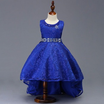 Pretty Lace Blue Puffy Flower Girls Dresses 2019 High Low Appliques Communion Pageant For Little