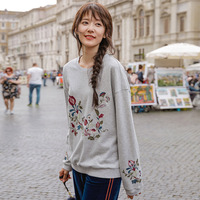 INMAN Autumn O Neck Raglan Sleeve Cotton and Polyester Elegant Flower Embroidery hoodies Street Wear