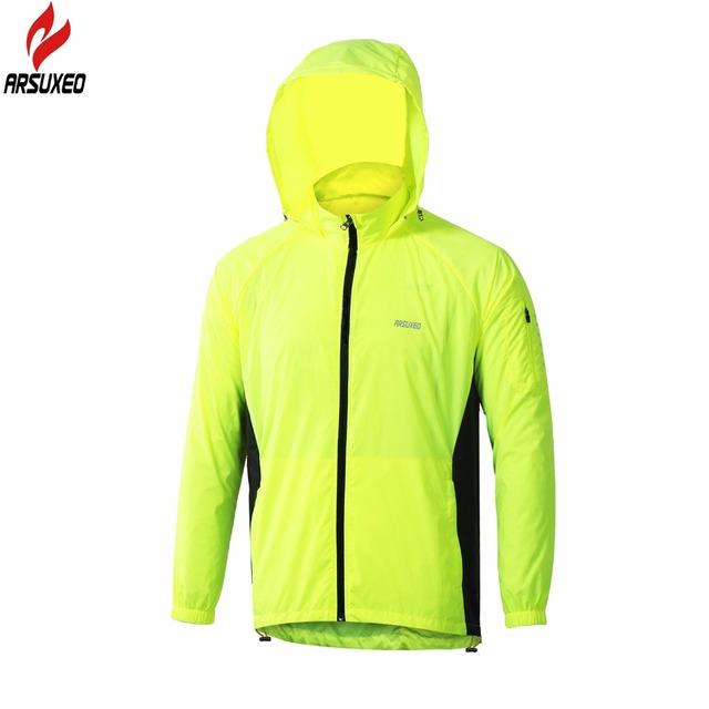 ARSUXEO Outdoor Sports Men Running Jacket Windproof Waterproof Pack Cycling Jacket Bike Bicycle Clothing Coat Clothes Sportswear