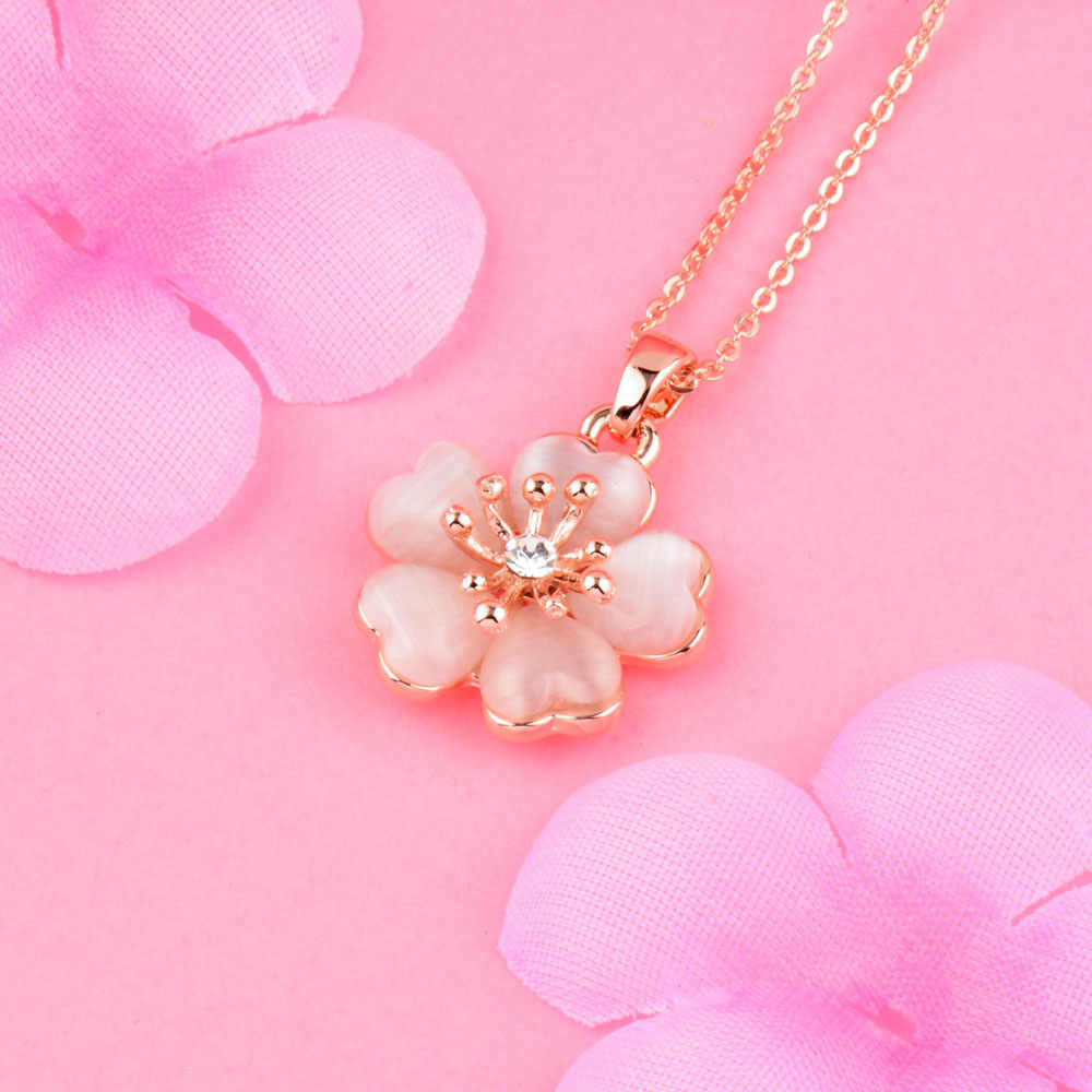 SINLEERY Fashion Solid Opal Plum Flower Pendant Necklace Rose Gold Color Wedding Jewelry For Women Girl Bijoux Femme Xl260 SSB