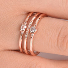 Huitan Fashion Triple Band Women Ring Classic Golden RoseGold Color With Round CZ Setting Bride Accessory Geometric Shaped