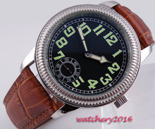 44mm parins Black dial Luminous Marks Crystal Brown Leather strap 6498 Movement hand winding Mechanical Men's business Watch