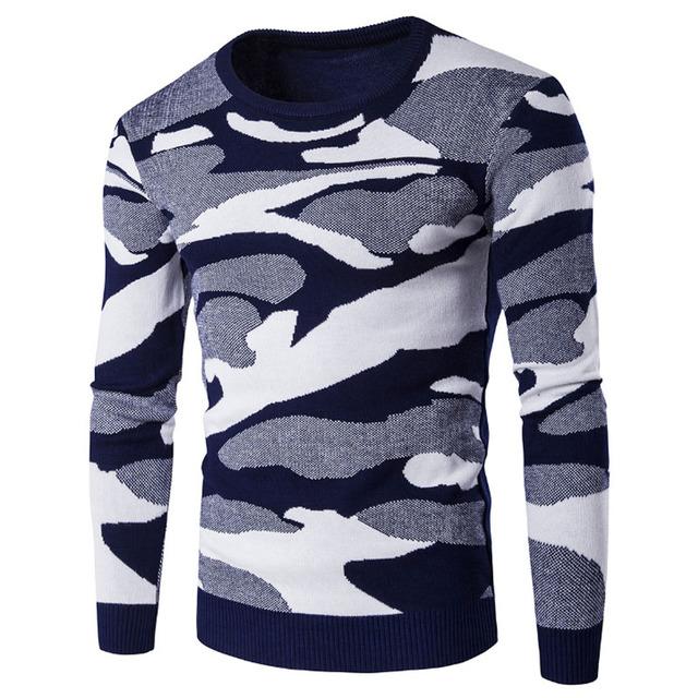 Camisola Homens 2017 Marca Três-Cor Camuflagem Pullover Camisola Masculina O-pescoço Slim Fit Knitting Camisolas Dos Homens Homem Homens Pullover XXL