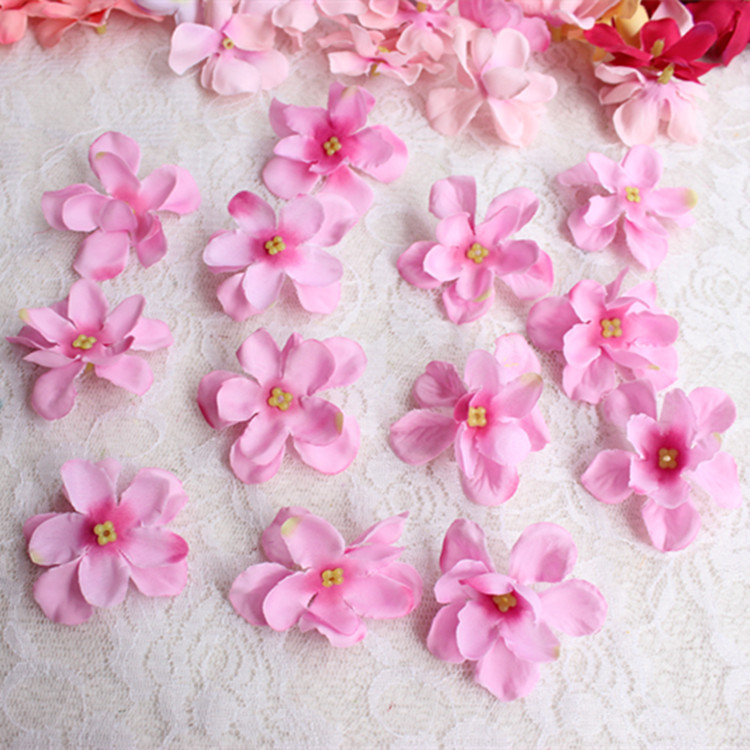 5CM Small Fabric Artificial Silk Real Touch Hydrangea Heads,Sewing Supplies,Wedding Decorations,Garland Hair,Floral Head Wreath