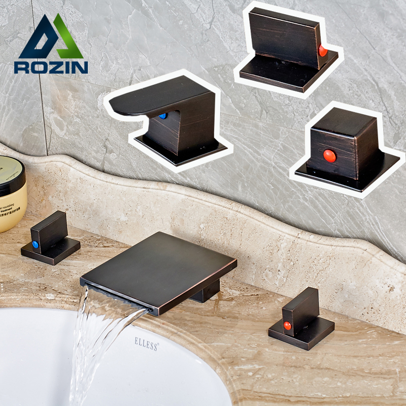 Oil Rubbed Bronze Black Bathroom Widespread Waterfall Basin Faucet Washing Basin Mixer Water Taps Dual Handles allen roth brinkley handsome oil rubbed bronze metal toothbrush holder