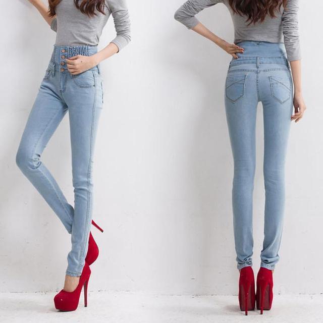 Jeans Womens High Waist Elastic Skinny Denim Button Long Pencil Pants Female Jeans Camisa Feminina Lady Fat Trousers