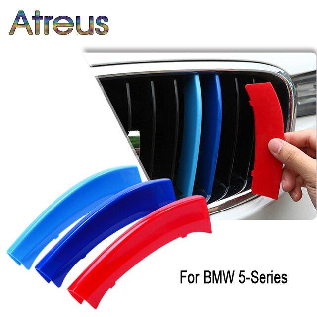 Atreus 3pcs 3D 자동차 전면 그릴 트림 스포츠 스트립 커버 스티커 BMW E39 E60 F10 F07 G30 5 시리즈 GT M 전원 액세서리