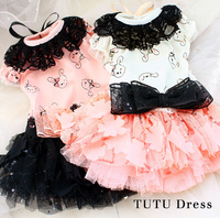 Free shipping high quality handmade adorable luxurious lace skirt sequin bow flower dog princess dresses cat small pet clothes