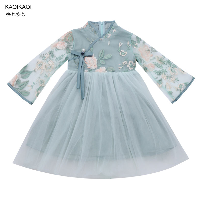 2019 new chinese style traditional girls dress child tang suit embroidery dresses Improved cheongsam qipao Kid's Party Dresses