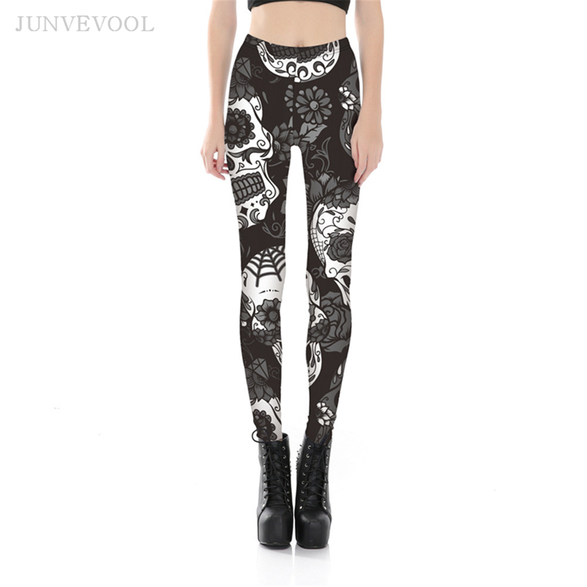 Leggings Bodycon <font><b>Women</b></font> <font><b>Halloween</b></font> Day <font><b>SEXY</b></font> Fitness Crop Ghost Rose Skull Styles Digital Printed Trousers Legging Workout Exercise image