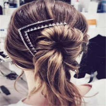 Korea Fashion Shiny Crystal Rhinestones Hair Clips Women Geometric Triangle X shape HairpinsX Shape