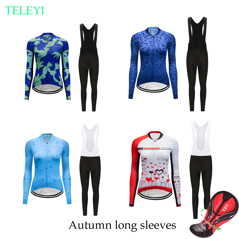Women's cycling clothes set Pro long sleeve bike jersey 2019 Female bicycle clothes sport suit MTB uniform maillot wear dress