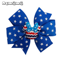 ncmama Hair Accessories Bows for Girls 3 Lovely Stars Print Grosgrain Ribbons Pins Kids Handmade 4th of July Bow