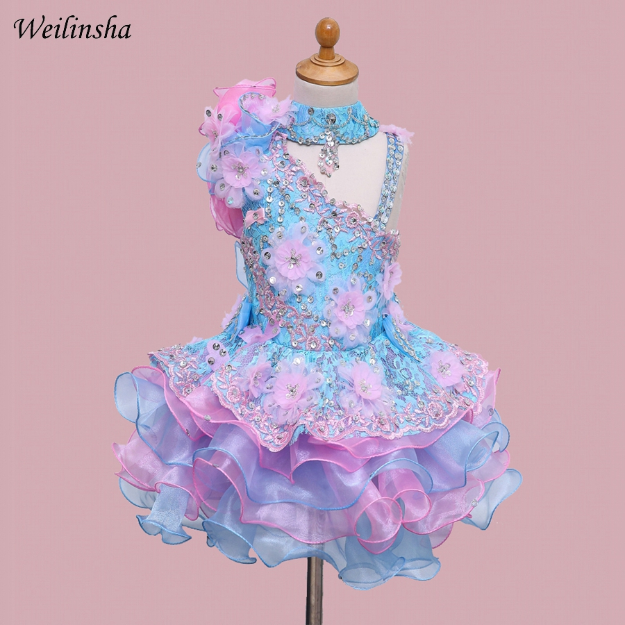 Weilinsha New Arrival Flower Girl Dress with Beading Bow Sequined Appliques Children Birthday Party Dresses