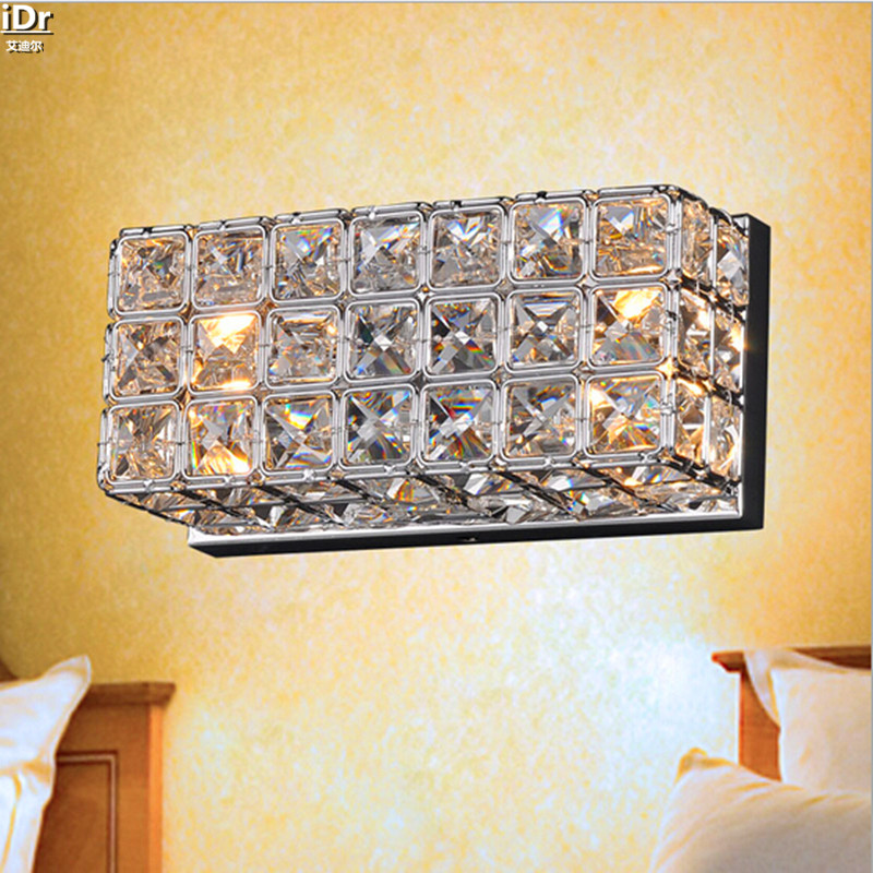 simple modern crystal square wall lamp creative arts bedside lamp mirror front lamps bedroom wall lamps - Wall Lamps For Bedroom