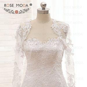 Image 4 - Vestido de boda de cintura baja encaje de Venecia de alta calidad con chaqueta de encaje de manga larga extraíble Corset Back Ball Gown fotos reales