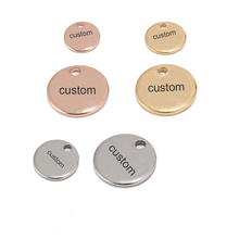 50pcs Gold/Rose Gold Stainless Steel Blank Stamping Dog Tags Round Charm Pendants Custom with Any Words 6mm/8mm/10mm