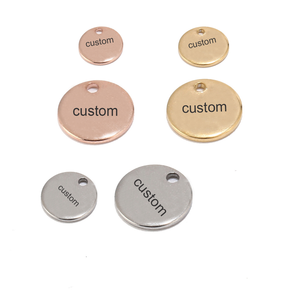 50pcs Silver/Gold/Rose Gold Stainless Steel Blank Stamping Dog Tags Round Charm Pendants Custom with Any Words 6mm/8mm/10mm-in Charms from Jewelry & Accessories