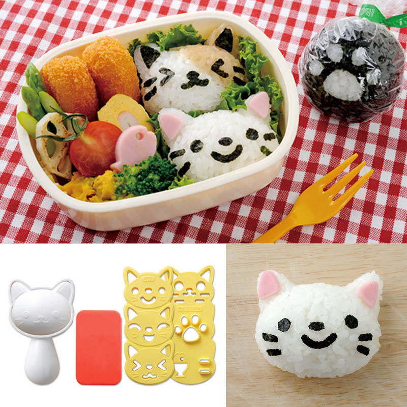 Japanese Style Sushi Nori Rice Mold Set Cooking Tools Cute Smile Cat Bento Maker Cutter Portable Kitchen Gadgets 1 Set