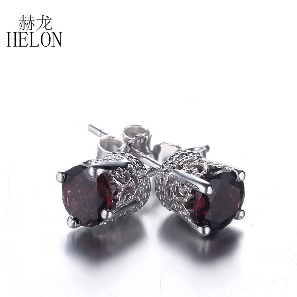 HELON Art Deco Sterling Silver 925 Vintage Antique 5MM Round Cut Tourmaline Earrings Wedding Party Gem