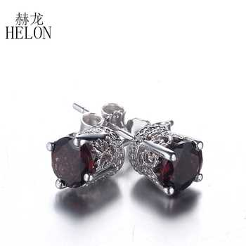 HELON Art Deco Sterling Silver 925 Vintage Antique 5MM Round Cut Tourmaline Earrings Wedding Party Gem Stud Earrings for Women - DISCOUNT ITEM  13% OFF All Category