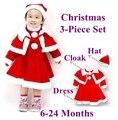 Traje vermelho Do Natal Vestido de Bebê Manto Chapéu Meninas 3 Peça conjunto Crianças Terno Outono Inverno Infantil Roupas Bebe Roupas Criança desgaste