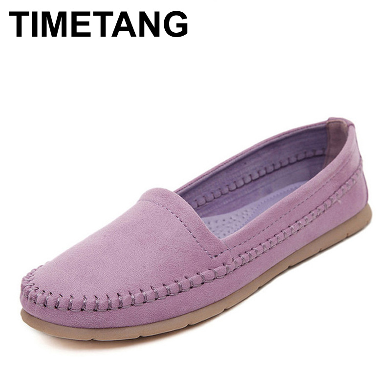 TIMETANG Nubuck Leather Women Flats Slip On Casual Flat Shoes Woman Soft Women Mocassin Boat Shoes Footwear Sapato Feminino cresfimix zapatos women cute flat shoes lady spring and summer pu leather flats female casual soft comfortable slip on shoes