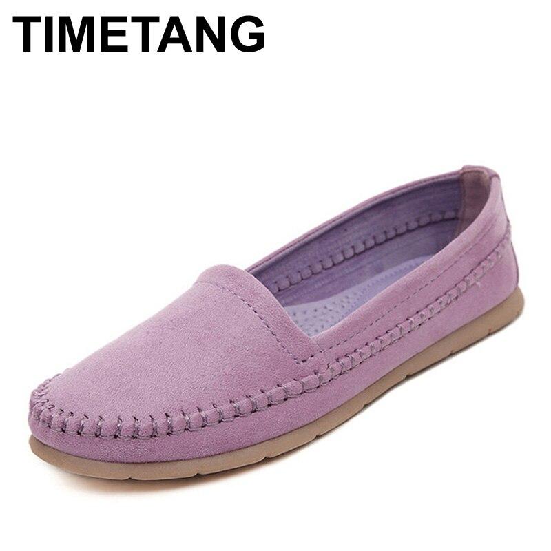 Timetang nubuck mujeres de los planos de deslizamiento en los zapatos ocasionale