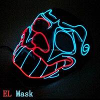 Sound Aktiviert 2 farben Leuchtende Maske Schädel EL Draht Maske Maskerade LED Maske für Halloween Fashion Party Decor