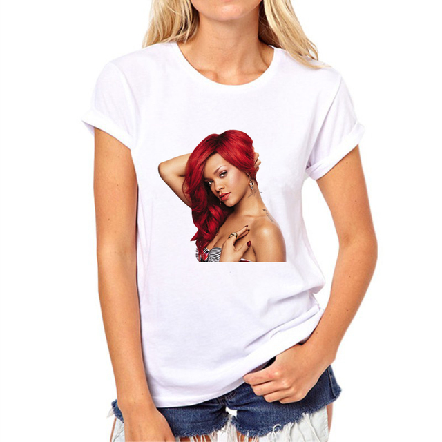 Nowa letnia koszulka damska Rihanna 3D Sexy marka Casual-shirt stylowe ubrania dziewczęca koszulka nastoletnia hip-hopowy Top Tees N11-6 #