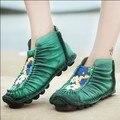 2016 весна женская обувь старинные натуральной кожи ручной работы женщин квартиры национальный тенденция тисненая кожа повседневная обувь