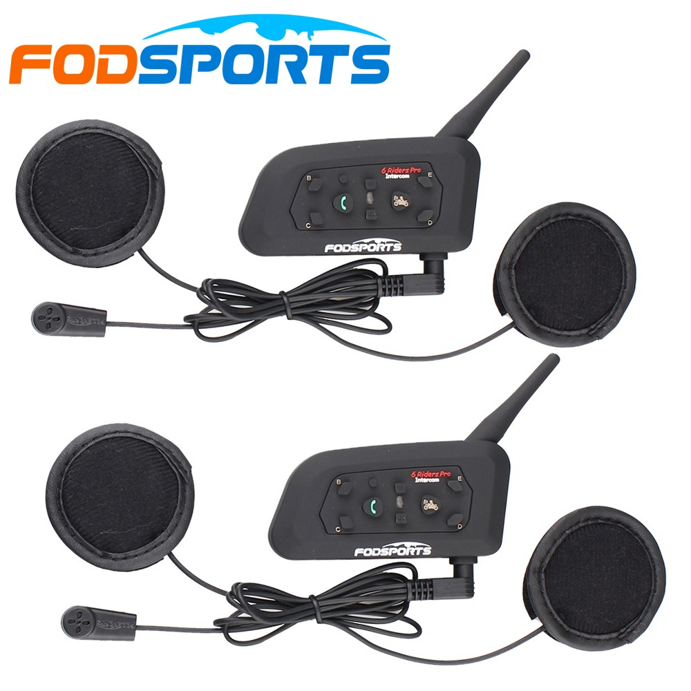 Fodsports 2 pezzi V6 Pro Casco moto auricolare bluetooth Interfono 6 Riders Moto Interphone BT impermeabile per casco integrale