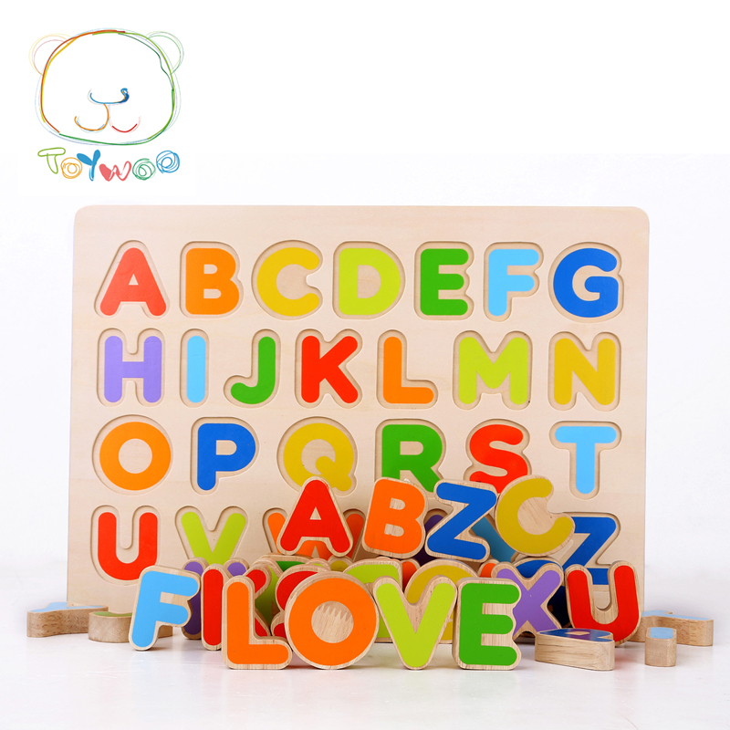 ToyWoo Kid Early Educational Toys Baby Hand Grasp Wooden Puzzle Toy Alphabet And Digit Learning Education Child Wood Jigsaw Toy baby wooden toys multifunctional learning cube puzzle round beads abacus frame baby educational toys for children