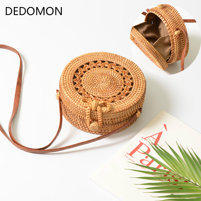 Summer Bali Hand-Woven Rattan Bag Embroidery Shoulder Crossbody Bags Beach Straw Bag Bohemian Knitting Circular Handbags Hollow