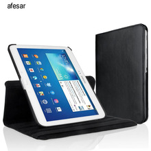 afesar  360 Rotating Case For Samsung galaxy Tab 3 10.1 cover P5200 P5220 P5210 Smart Stand PU leather case