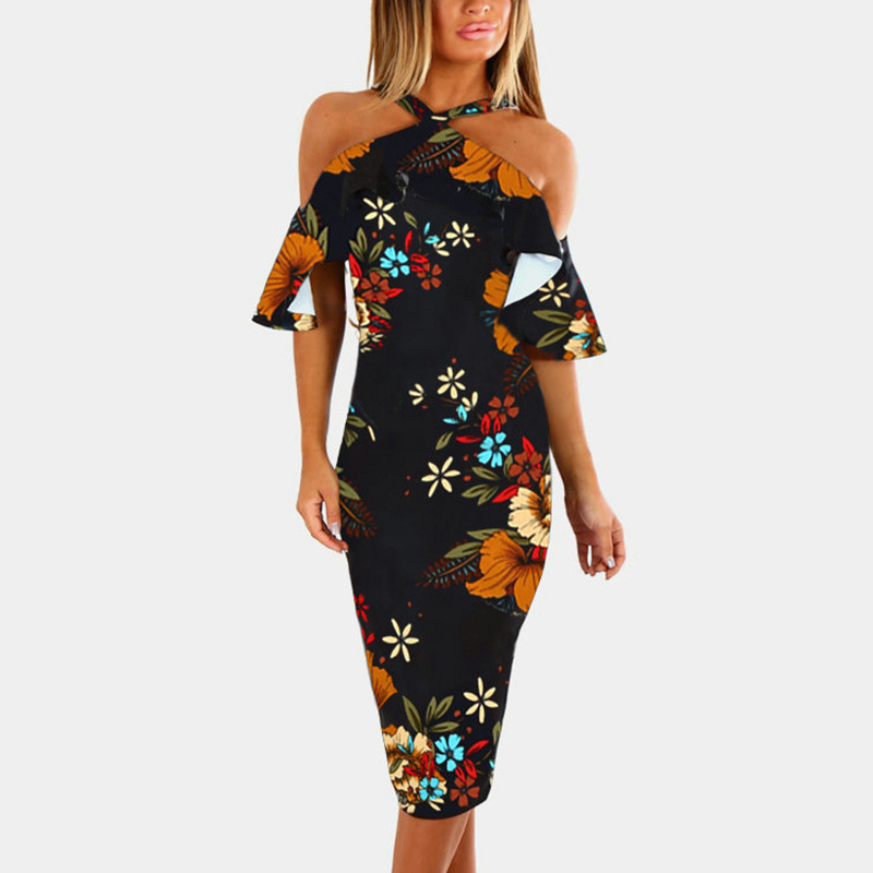 <font><b>Off</b></font> <font><b>Shoulder</b></font> Women Summer <font><b>Bodycon</b></font> Dress <font><b>Sexy</b></font> Halter Ruffles Female <font><b>Party</b></font> Dresses Mid-calf <font><b>Elegant</b></font> Fashion <font><b>2018</b></font> Vestidos Dropship image