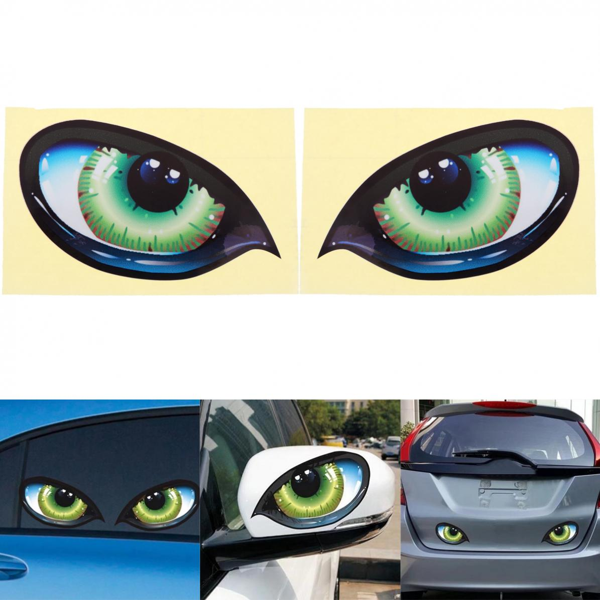 2pcs 12 x 7.5CM 3D Reflective Material Eye Pattern Creative Funny Stereoscopic Strong Adhesion Car Sticker Accessories