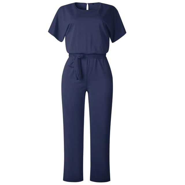Wontive azul oscuro de la Oficina de Trabajo de las mujeres mono 2019 de Moda de Primavera Sexy general suelto sólido de mono de encaje arriba fajas mono