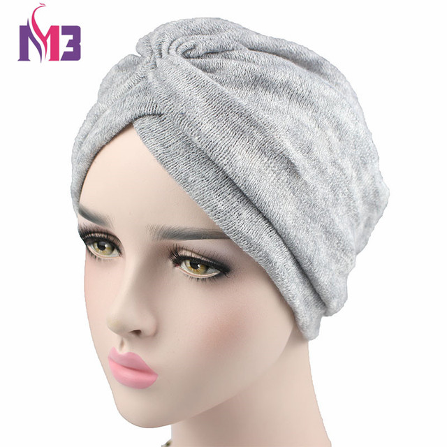 Fashion Women Wool Blending Turban Full Head Covering Winter Chemo Headwear  Ladies Hijab Turban Headband Turbante for Women c0f1590b957a